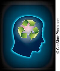 Smart thinking to recycle - Illustration of thinking to...