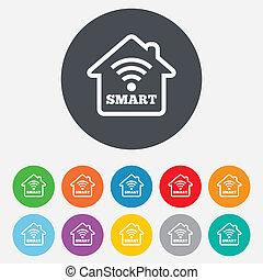 smart, thuis, meldingsbord, icon., smart, woning, button.