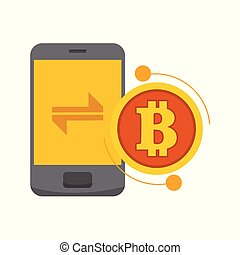 Smart Transfer Bitcoin Mobile Phone Vector Illustration Graphic