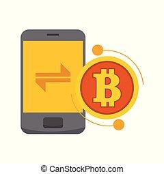 Smart Transfer Bitcoin Mobile Phone Vector Illustration Graphic