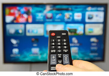 Smart tv and hand hold  remote control