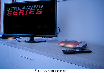 Smart tv connected to internet modem network