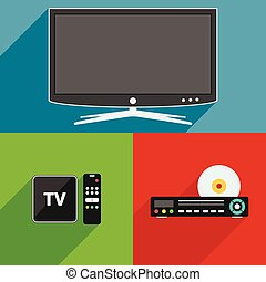 Smart TV, DVD player and TV box receiver flat design long shadow icons