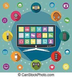 Smart TV flat design concept