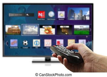 smart, tv, holdingen, kontroll, avlägsen, isolerat, hand, 3