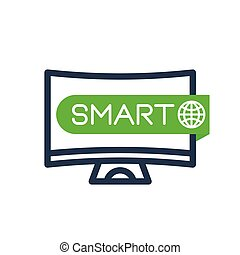Smart TV icon, linear sign