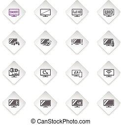 smart tv icon set