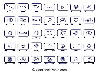 Smart TV icons set, flat design, vector illustration. Icons depicting smart TV with different stands and different functions