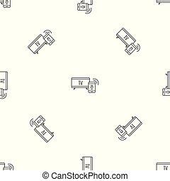 Smart tv pattern seamless vector