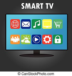 Smart TV with different icons, flat design