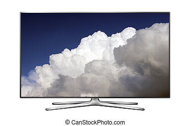 Smart tv with rainy clouds on sky