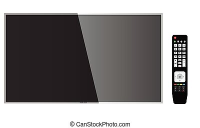 Smart TV with remote control Mock-up, Vector Screen