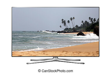 Smart TV with tropical beach on screen