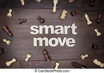 smart, verhuizen, concept, op, houten, achtergrond