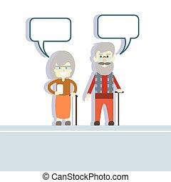 smart, vrouw, houden, paar, cel, praatje, bel, netwerk, communicatie, moderne, telefoon, man, senior, stok, concept