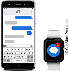 Smart watch and mobile phone with Germany alphabet keyboard