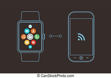 Smart watch and phone concept design with app icon