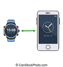 Smart Watch and Phone. Time Synchronization. Vector...
