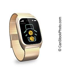 Smart watch app for unlock car door.