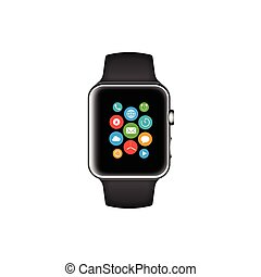 Smart watch black with icons vector illustration