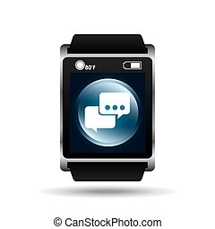 smart watch blue screen bubble speech icon media vector...