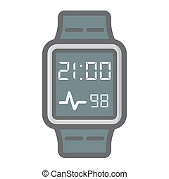 Smart watch colorful line icon, gadget and device