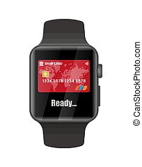 Smart watch contactless payments. Smartwatch modern device....