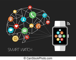 Smart watch design concept with app icons