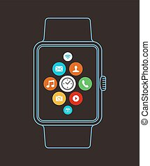 Smart watch design in outline style with apps