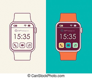Smart watch designs in outline style with app icon