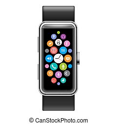 Smart Watch - Modern Smart Watch with Color Apps Icons