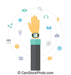 Smart watch technology concept, personal digital device on hand with mobile apps like phone calls, internet browsing, navigation, music and media player. Flat design style modern vector illustration concept. Isolated on white background.