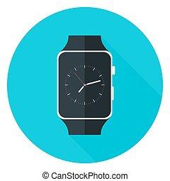 Smart Watch Flat Circle Icon