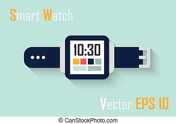 Smart Watch ( flat design ) and blue background