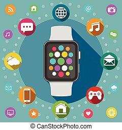 Smart watch flat design concept