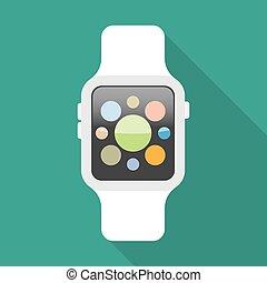 Smart watch flat icon.