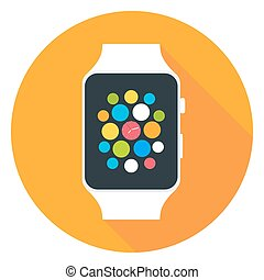 Smart Watch Flat Stylized Circle Icon