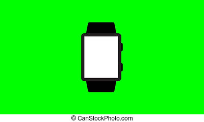 smart watch icon animation on green background wrist watch 4K video