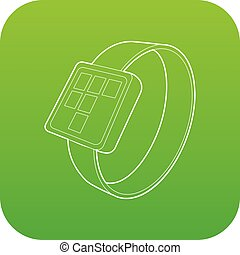 Smart watch icon green vector