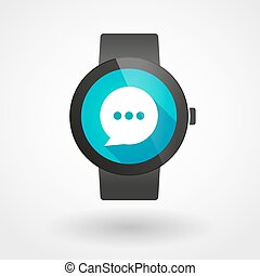 Smart watch icon with a comic balloon