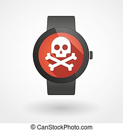 Smart watch icon with a skull