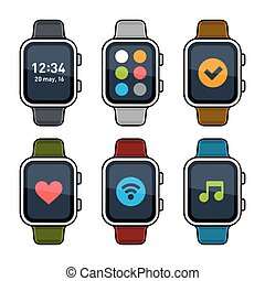 Smart Watch Icons Set. Flat Style. Vector illustration