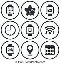 Smart watch icons  wrist digital time clock  Clock, wifi and