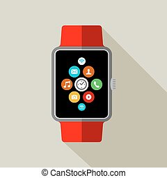 Smart watch illustration in 2d style with app icon