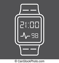 Smart watch line icon, gadget and device