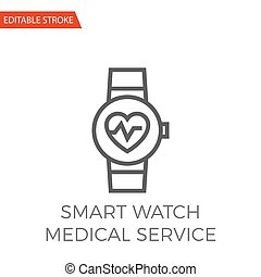 Smart Watch Medical Service Vector Icon - Smart Watch...