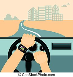 smart watch on the driver hands