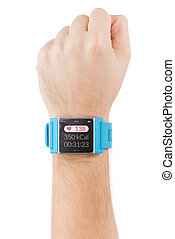 Smart watch on the male hand with heart beat on the screen -...