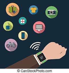 Smart watch online shopping concept. Flat design.