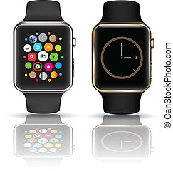 Smart watch set - Smart watch isolated with icons on white...